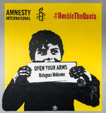 Amnesty International refugee poster in Auckland. Stock Images