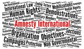 Amnesty International słowa chmury pojęcie ilustracji
