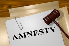 Amnesty legal concept. 3D illustration of AMNESTY title on Legal Documents Royalty Free Illustration