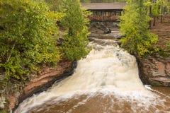 Amnicon Lower Falls & Covered Bridge Royalty Free Stock Photo