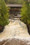 Amnicon Lower Falls & Covered Bridge Stock Photo
