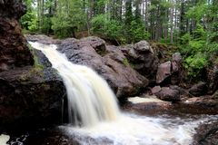 Amnicon Waterfall in Wisconsin. Showing flowing water as a blur stock image