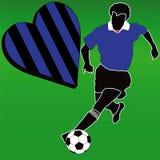 Amo al club negro y azul del fútbol stock de ilustración