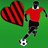 Amo al club rojo y negro del fútbol ilustración del vector