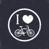 Amo ciclare intorno al segno con la bici d'annata Fotografia Stock
