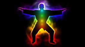 Amo con la aureola y los chakras - taichi, kungfu, judo, karate, el Taekwondo ilustración del vector