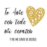 Amo con todo mi texto español del corazón, diseño del vector para el día de tarjetas del día de San Valentín del St, fecha, casan stock de ilustración