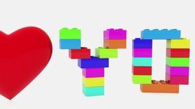 Amo concepto construido de ladrillos del juguete stock de ilustración