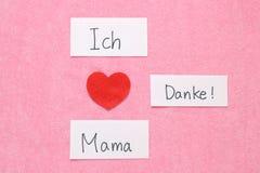 Amo concepto de la mamá en alemán Foto de archivo libre de regalías