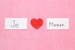 Amo concepto de la mamá en francés Fotos de archivo libres de regalías