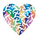 Amo correr, corazón colorido Fotos de archivo