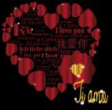 AMO de Ti d'or de coeur dans les langues Images stock