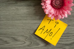 AMO de Ti de note d'amour ! Photographie stock