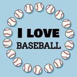 Amo diseño de la bandera del deporte del béisbol en la guirnalda de béisboles Dornament del béisbol e impresión de la tipografía stock de ilustración