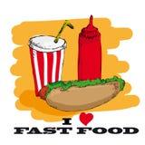Amo diseño de tarjeta de los alimentos de preparación rápida Fotografía de archivo libre de regalías