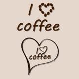 Amo diseño del texto del café Imagen de archivo libre de regalías