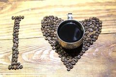 Amo el coffee& x28; espresso& x29; Imagen de archivo libre de regalías
