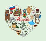 Amo el corazón del vector de Rusia ilustración del vector