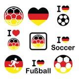 Amo el fútbol alemán, iconos del fútbol fijados Imágenes de archivo libres de regalías