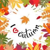 Amo el fondo del otoño con las hojas multicoloras Illustr del vector Imagenes de archivo