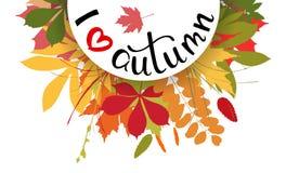 Amo el fondo del otoño con las hojas multicoloras Illustr del vector Imagen de archivo libre de regalías