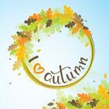 Amo el fondo del otoño con las hojas multicoloras Illustra del vector Imágenes de archivo libres de regalías