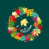 Amo el fondo del otoño con las hojas multicoloras Illustra del vector Foto de archivo libre de regalías