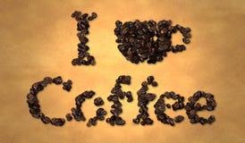 Amo el grano de café en el papel viejo Foto de archivo