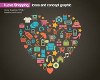 Amo el hacer compras (icono y el concepto) Fotografía de archivo libre de regalías