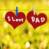 Amo el mensaje del papá en forma roja del corazón Foto de archivo libre de regalías