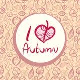 Amo el otoño, diseño de tarjeta con la hoja en forma de corazón Foto de archivo