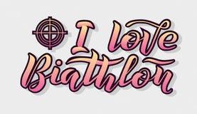 Amo el texto amarillo y rosado del Biathlon de la pendiente de las letras en fondo gris Foto de archivo