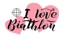 Amo el texto de las letras del Biathlon en fondo texturizado blanco con la blanco y los corazones Imagen de archivo libre de regalías