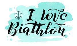 Amo el texto de las letras negras del Biathlon en fondo texturizado blanco con la blanco, ejemplo del vector Fotos de archivo libres de regalías