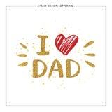 Amo el texto del papá con el corazón rojo - letras del brillo del oro Fotos de archivo libres de regalías