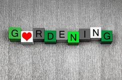 Amo fare il giardinaggio - serie del segno di divertimento per i giardini ed i giardinieri Fotografia Stock