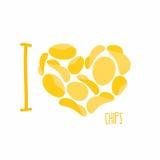 Amo i chip Cuore di simbolo delle patatine fritte Frittura delle patate Vec Immagini Stock Libere da Diritti