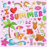 Amo i Doodles del taccuino di vacanza di estate Fotografia Stock Libera da Diritti