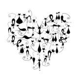 Amo i gatti! Siluetta dei gatti neri nella figura del cuore Immagine Stock