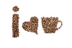 Amo i simboli del caffè dai chicchi di caffè Immagine Stock