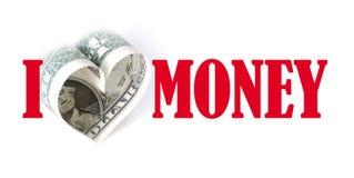 Amo i soldi Fotografia Stock Libera da Diritti