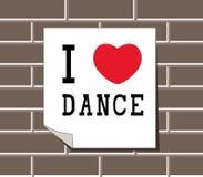 Amo il ballo - segno, autoadesivi, carta, modelli sul muro di mattoni Fotografie Stock