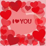 Amo il biglietto di S. Valentino you_Happy Fotografie Stock Libere da Diritti