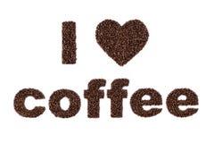 Amo il caffè scritto nei fagioli Fotografia Stock