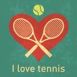 Amo il logo del tennis con retro struttura della carta di lerciume Fotografia Stock Libera da Diritti