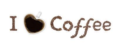Amo il messaggio del caffè Immagini Stock Libere da Diritti