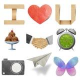 Amo il mestiere di carta riciclato modifica Fotografie Stock