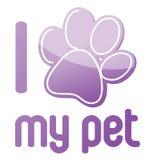 Amo il mio disegno dell'illustrazione dell'animale domestico Fotografie Stock Libere da Diritti