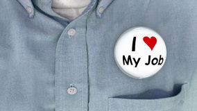 Amo il mio Job Buttons Working Career Pins Immagini Stock Libere da Diritti