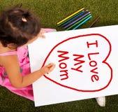 Amo il mio messaggio della mamma come simbolo per gli auguri Immagini Stock